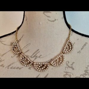 J.CREW Gold Scalloped Rhinestone Necklace